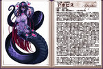 1girl apophis_(monster_girl_encyclopedia) bare_shoulders breasts character_profile choker cleavage cobra_(animal) covering covering_crotch earrings fingernails jewelry kenkou_cross lamia large_breasts long_fingernails long_hair looking_at_viewer monster_girl monster_girl_encyclopedia multicolored_hair nail_polish navel navel_piercing official_art pasties piercing pointy_ears purple_hair purple_skin red_hair smile solo text translation_request two-tone_hair yellow_sclera