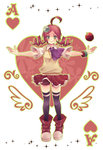 1girl ace ahoge andou_ringo apple black_legwear boooo-im card character_hair_ornament drill_hair food fruit full_body green_eyes hair_ornament heart highres object_namesake outstretched_arms playing_card puyo_(puyopuyo) puyopuyo puyopuyo_7 red_hair red_skirt shoes short_hair shorts shorts_under_skirt skirt smile solo spread_arms standing sweater_vest thighhighs twin_drills twintails zettai_ryouiki