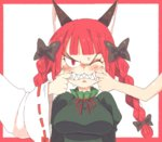 3girls anger_vein animal_ears black_bow border bow braid breasts cat_ears character_request cheek_pinching clenched_teeth commentary finger_in_another's_mouth hair_bow hakurei_reimu inkerton-kun kaenbyou_rin large_breasts long_hair long_sleeves looking_at_viewer multiple_girls one_eye_closed out_of_frame pinching pointy_ears puffy_long_sleeves puffy_sleeves red_border red_eyes red_hair sharp_teeth simple_background solo_focus subterranean_animism sweat teeth touhou twin_braids upper_body v-shaped_eyebrows white_background