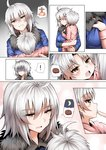 1boy 1girl ahoge androgynous anger_vein casual comic commentary contemporary fate/grand_order fate_(series) food ginhaha jeanne_d'arc_(alter)_(fate) jeanne_d'arc_(fate)_(all) lifting_person mother_and_son person_carrying short_hair silent_comic silver_hair spoken_food steak wicked_dragon_witch_ver._shinjuku_1999 yellow_eyes