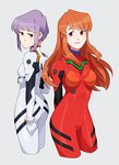2girls alexiadraws arm_at_side arms_behind_back asahina_mikuru ass ayanami_rei ayanami_rei_(cosplay) back-to-back bangs bodysuit bracer breasts breasts_apart brown_eyes brown_hair clenched_hand closed_mouth cosplay cropped_legs expressionless eyebrows_visible_through_hair from_side gloves grey_background grey_hair half-closed_eyes highres hip_focus long_hair looking_at_viewer looking_back looking_to_the_side medium_breasts multiple_girls nagato_yuki neon_genesis_evangelion number outline pilot_suit plugsuit red_bodysuit short_hair sidelocks simple_background small_breasts smile souryuu_asuka_langley souryuu_asuka_langley_(cosplay) standing suzumiya_haruhi_no_yuuutsu turtleneck upper_teeth white_bodysuit