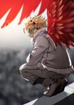 1boy 55level ankle_boots blonde_hair blurry blurry_background boku_no_hero_academia boots brown_eyes coat commentary_request day depth_of_field feathered_wings from_behind full_body fur_collar glaring goggles grey_coat grey_footwear grey_pants hawks_(boku_no_hero_academia) headphones highres long_sleeves looking_at_viewer looking_back male_focus outdoors pants red_wings rooftop solo squatting thick_eyebrows wings winter_clothes winter_coat