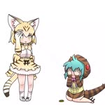 2girls animal_ear_fluff animal_ears animated aqua_hair blonde_hair bow bowtie brown_hair cat_ears cat_tail commentary covering_eyes extra_ears frilled_skirt frills geta gloves hand_up hood hood_up hoodie japari_coin kemono_friends kneeling looping_animation meme mp4 multicolored_hair multiple_girls print_gloves print_neckwear print_skirt salt_bae_(meme) sand sand_cat_(kemono_friends) sand_cat_print shirt short_hair simple_background skirt sleeveless sleeveless_shirt snake_tail socks standing striped_hoodie striped_tail tail taro_(taro) tsuchinoko_(kemono_friends) two-tone_hair wavy_mouth white_background