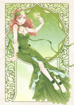 1girl arm_support art_nouveau bare_shoulders bishoujo_senshi_sailor_moon breasts brown_hair butterfly cleavage collarbone dress earrings flower full_body green_dress green_eyes hair_ribbon jewelry jupiter_symbol kino_makoto laurel_crown long_hair necklace nickii25 ponytail ribbon sitting smile solo