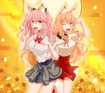 2girls animal_ear_fluff animal_ears blonde_hair blush breasts clothes_around_waist fang fate/extra fate/extra_ccc fate/extra_ccc_fox_tail fate/grand_order fate_(series) fox_ears fox_girl fox_tail highres jacket_around_waist large_breasts long_hair looking_at_viewer multiple_girls one_eye_closed open_mouth paw_pose pink_hair school_uniform shirt skirt smile suzuka_gozen_(fate) tail tamamo_(fate)_(all) tamamo_jk_(fate) twintails yellow_eyes