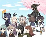 6+girls :3 >_< ahoge amatsukaze_(kantai_collection) anchor animal animal_on_head backpack bag bespectacled binoculars bird bird_on_head black_hair blonde_hair blush_stickers brown_hair closed_eyes elbow_gloves error_musume flag girl_holding_a_cat_(kantai_collection) glasses gloves green_hair hair_ornament hair_ribbon hair_tubes hairband hairclip hands_on_hips hat headgear high_heels hiyoko_(kantai_collection) holding_hands kantai_collection kitakami_(kantai_collection) kumano_(kantai_collection) kurono_nekomaru majokko_(kantai_collection) midori_(kantai_collection) minigirl multiple_girls nagato_(kantai_collection) nose_bubble on_head ooi_(kantai_collection) ponytail purple_hair randoseru rashinban_musume resized ribbon shimakaze_(kantai_collection) silver_hair sleeping striped striped_legwear suzuya_(kantai_collection) sweatdrop tenryuu_(kantai_collection) thighhighs tokitsukaze_(kantai_collection) triangle_mouth twintails wavy_mouth witch_hat younger yukikaze_(kantai_collection)