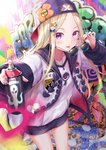 1girl abigail_williams_(fate/grand_order) backwards_hat bangs baseball_cap blonde_hair blush commentary_request fate/grand_order fate_(series) forehead graffiti hair_ornament hat heart highres hood hooded_jacket jacket kachayori keyhole long_hair long_sleeves looking_at_viewer open_clothes open_jacket parted_bangs pink_eyes shirt smile solo spray_paint sunglasses thighs tongue tongue_out white_jacket white_shirt