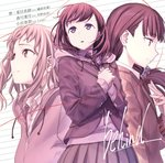 3girls album_cover bangs blunt_bangs brown_eyes brown_hair character_name cover curly_hair eyebrows_visible_through_hair hair_ornament hair_scrunchie highres himura_kiseki hood hooded_jacket jacket just_because! komiya_ena long_hair morikawa_hazuki multiple_girls natsume_mio necktie official_art open_mouth own_hands_together pleated_skirt purple_eyes red_string school_uniform scrunchie shirt skirt song_name string upper_body