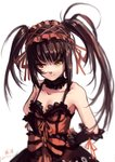 1girl 2017 asymmetrical_hair bangs black_hair black_sleeves breasts choker cleavage collarbone date_a_live dated detached_sleeves dress eyebrows_visible_through_hair hair_ribbon hand_on_hip heterochromia highres lolita_fashion long_hair looking_at_viewer maid_headdress medium_breasts red_eyes red_ribbon ribbon signature simple_background sketch sleeveless sleeveless_dress smile solo tokisaki_kurumi twintails very_long_hair white_background xiaobanbei_milk yellow_eyes