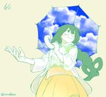1girl :> aiue0 asui_tsuyu blue_sky blush boku_no_hero_academia closed_mouth cloud commentary_request dress foreshortening frog_girl graphite_(medium) green_eyes green_hair hair_rings holding holding_umbrella long_hair low-tied_long_hair millipen_(medium) outstretched_arm outstretched_hand see-through sky sky_print smile solo traditional_media transparent transparent_umbrella umbrella yellow_dress