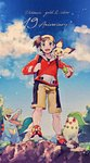 1boy :d blue_eyes blue_sky chikorita cloud collarbone cyndaquil day friend_ball gen_2_pokemon gold_(pokemon) highres holding holding_poke_ball hood hood_down hooded_sweater looking_away mu_acrt open_mouth outdoors pichu poke_ball pokemon pokemon_(creature) pokemon_(game) pokemon_gsc pokemon_on_shoulder red_sweater shorts sky smile sweater totodile yellow_shorts