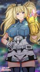 1girl avengers avengers:_endgame avengers:_infinity_war blonde_hair blue_eyes blue_shirt breast_pocket breasts collared_shirt commentary_request cowboy_shot gambier_bay_(kantai_collection) gloves hair_between_eyes hairband infinity_gauntlet kantai_collection katou_techu large_breasts looking_at_viewer marvel multicolored multicolored_clothes multicolored_gloves night night_sky pocket shirt shorts sky solo thighhighs twintails white_legwear