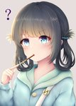 1girl ? bangs black_hair blue_eyes blue_hoodie blush commentary_request endsmall_min eyebrows_visible_through_hair food food_in_mouth grey_background hair_ornament hair_rings hand_up highres hood hood_down hoodie long_hair long_sleeves looking_at_viewer nagi_no_asukara pocky shiodome_miuna simple_background solo sweat