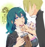 1boy 3girls aurastack beer_mug blonde_hair blue_eyes blue_hair byleth closed_mouth commentary_request cup dimitri_alexandre_bladud_(fire_emblem) edelgard_von_hresvelgr_(fire_emblem) fire_emblem fire_emblem:_fuukasetsugetsu hand_on_another's_face holding holding_cup mug multiple_girls open_mouth short_hair simple_background sothis twitter_username white_background