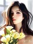 1girl bare_shoulders blue_eyes blurry blurry_background blurry_foreground brown_hair commentary english_commentary face flower hair_over_one_eye highres liang_xing lips long_hair looking_at_viewer nose original parted_lips patreon_username realistic signature solo upper_body watermark web_address