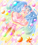 1girl bad_id bad_pixiv_id blue_eyes blue_hair boots bow candy cross-laced_footwear dress food frills hair_bow hatsune_miku highres horon5151 knee_boots lace-up_boots long_hair open_mouth outstretched_arms solo striped striped_background striped_legwear thighhighs twintails very_long_hair vocaloid