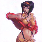 1girl breasts cowboy_bebop faye_valentine hairband hand_in_pants ilya_kuvshinov midriff mouth_hold navel purple_hair short_hair smile solo stomach sunglasses suspenders