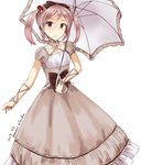 1girl alternate_costume black_bow bow brown_dress dated dress frilled_umbrella hair_bobbles hair_bow hair_ornament highres kantai_collection light_blush lolita_fashion looking_at_viewer minase_(takaoka_nanase) pink_eyes pink_hair puffy_short_sleeves puffy_sleeves ribbon sazanami_(kantai_collection) short_hair short_sleeves simple_background solo twintails twitter_username white_background white_umbrella