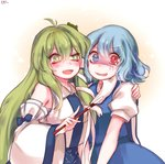 2girls :d ahoge arm_around_shoulder bare_shoulders beige_background blue_bow blue_eyes blue_hair blue_skirt blue_vest blush bow commentary detached_sleeves fang frog_hair_ornament gradient gradient_background green_eyes green_hair hair_ornament hair_tubes heterochromia holding kochiya_sanae long_hair long_sleeves looking_at_another looking_at_viewer multiple_girls open_mouth pale_face puffy_short_sleeves puffy_sleeves red_eyes shan shirt short_hair short_sleeves sidelocks skirt skirt_set smile snake_hair_ornament sparkle star star-shaped_pupils symbol-shaped_pupils tatara_kogasa tears touhou uneven_eyes v_arms very_long_hair vest white_background white_shirt wide_sleeves