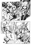 1girl beret boots comic drill_hair familiar_(madoka_magica) fingerless_gloves gloves greyscale gun hat kyubey magical_girl mahou_shoujo_madoka_magica monochrome nobita open_mouth thighhighs tomoe_mami translated twin_drills twintails weapon