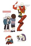 1girl 2boys androgynous bent_over frisk_(undertale) gameplay_mechanics highres hood hoodie horns korean monster_girl multiple_boys multiple_girls papyrus_(undertale) red890529 ribs ruined_for_marriage sans scarf shirt simple_background skeleton striped striped_shirt sweat toriel translation_request undertale white_background