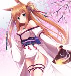 1girl absurdres animal_ears bell breasts brown_hair cherry_blossoms cleavage fan fire fox_ears fox_tail green_eyes hair_bell hair_ornament highres japanese_clothes kimono long_sleeves original tail twintails yuzu_modoki