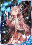 1girl akkijin blue_eyes blue_flower breasts brown_hair bug butterfly cape card_(medium) cleavage deer_antlers dress flower forest horns insect looking_up nature official_art red_dress seiza shinkai_no_valkyrie sitting