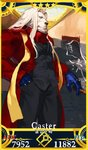 1boy alternate_costume blue_eyes blue_gloves card_(medium) card_parody cigar closed_mouth commentary_request cosplay fate/grand_order fate_(series) furry gloves hair_down hand_in_pocket lion lord_el-melloi_ii male_focus pako servant_card_(fate/grand_order) solo thomas_edison_(fate/grand_order) waver_velvet zhuge_liang