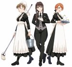 3girls ;d apron bangs black_dress black_footwear black_jacket black_legwear black_neckwear black_pants black_ribbon blue_eyes blush braid brown_eyes brown_hair bucket butler cup dress earrings eyebrows_visible_through_hair female_butler formal frilled_apron frills full_body gloves grey_vest hair_between_eyes hair_ribbon highres holding holding_bucket holding_mop holding_tray houjou_karen idolmaster idolmaster_cinderella_girls jacket jewelry kamiya_nao long_hair long_sleeves looking_at_viewer low_ponytail maid mop multiple_girls necktie nigou one_eye_closed open_mouth orange_hair pants pantyhose ponytail puffy_sleeves red_eyes ribbon shibuya_rin simple_background single_braid smile standing suit teacup teapot tray upper_teeth vest white_apron white_background white_gloves