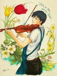 1boy amasawa_seiji apron black_hair blue_eyes bow_(instrument) daisy english flower highres instrument kuiro_916 male_focus marker_(medium) mimi_wo_sumaseba music playing_instrument solo studio_ghibli traditional_media tulip twitter_username violet_(flower) violin
