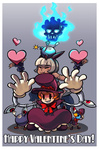 2girls animal_ears avery_(skullgirls) bob_cut bomb cat_ears cat_tail dark_skin fingerless_gloves flaming_skull george_the_bomb gloves happy_valentine hat heart highres jonathan_kim mechanical_arm ms._fortune_(skullgirls) multiple_girls peacock_(skullgirls) scar short_hair skull skull_heart skullgirls tail top_hat valentine white_hair