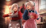 2girls  ak-12_(girls_frontline) an-94_(girls_frontline) apron bangs blue_eyes blush book commentary_request eyebrows_visible_through_hair girls_frontline hairband holding holding_book indoors long_hair long_sleeves mixing_bowl multiple_girls one_eye_closed open_mouth red_sweater ribbed_sweater rin_(028ilc) silver_hair sweater valentine