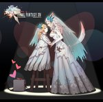 2girls absurdres animal_ears blonde_hair blue_flower blue_rose blush blush_stickers bow braid breasts bridal_veil chinese_commentary cleavage_cutout closed_eyes commentary_request copyright_name couple demon_brick_(ff14) dress earrings eyeshadow facing_another fang_tang_jun final_fantasy final_fantasy_xiv flower footwear_removed heart height_difference highres holding_hands imminent_kiss jewelry lalafell logo long_hair makeup medium_breasts miqo'te multiple_girls pointy_ears purple_eyeshadow red_footwear ribbon rose rose_hair_ornament see-through shoes silver_hair spotlight standing standing_on_object stool tail tail_bow tail_ribbon veil wedding wedding_dress white_dress wife_and_wife wooden_stool yuri