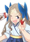 1girl asakaze_(kantai_collection) bangs blue_bow blue_hakama bow commentary_request condensed_milk cream food forehead fruit furisode hair_bow hakama japanese_clothes kantai_collection kimono light_brown_hair long_hair looking_at_viewer meiji_schoolgirl_uniform one_eye_closed open_mouth parted_bangs sexually_suggestive sidelocks simple_background solo strawberry upper_body wavy_hair wavy_mouth white_background yuzuruka_(bougainvillea)