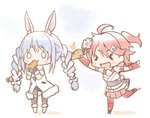 2girls :3 >_< ahoge animal_ear_fluff animal_ears armband bangs blue_hair blush braided_tail bunny_ears bunny_girl carrot carrot_hair_ornament cherry_blossoms cleavage_cutout detached_sleeves eating eyebrows eyebrows_visible_through_hair flower food_themed_hair_ornament full_body hair_ornament hairclip holding hololive kuro_(kuroneko_no_kanzume) multiple_girls nontraditional_miko o_o open_mouth pink_hair sakura_miko side_ponytail skirt thighhighs twintails usada_pekora virtual_youtuber white_background