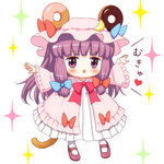 1girl :3 animal_ears bebeneko chibi doughnut food hat long_hair looking_at_viewer mary_janes mob_cap mouse_ears mouse_tail mukyuu open_mouth patchouli_knowledge purple_hair shoes solo sparkle tail touhou translated