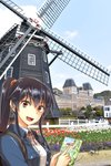1girl :d abo_(hechouchou) absurdres bangs black_hair blue_jacket building collared_shirt fence flower garden hair_ribbon highres holding_map huis_ten_bosch jacket kantai_collection long_hair looking_at_viewer map nagasaki neck_ribbon open_mouth outdoors palace photo_background ponytail red_eyes red_ribbon ribbon shirt sidelocks smile solo tulip upper_body white_shirt windmill wooden_fence yahagi_(kantai_collection)