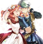1boy 1girl alm_(fire_emblem) armlet blue_headband celica_(fire_emblem) closed_eyes dress fire_emblem fire_emblem_echoes:_shadows_of_valentia fire_emblem_heroes green_hair grin head_wreath headband holding_hands long_hair long_sleeves misu_kasumi open_mouth petals red_hair short_hair simple_background smile white_background