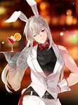 1boy animal_ears bare_shoulders bedivere belt black_belt black_shirt bow bowtie braid bunny_ears bunny_tail coattails cocktail cocktail_glass cowboy_shot cup drink drinking_glass fate/grand_order fate_(series) food green_eyes grey_hair haerin_u lens_flare long_hair one_eye_closed pants ponytail prosthesis prosthetic_arm red_neckwear shirt solo tail vest white_pants white_vest wrist_cuffs
