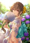 1girl :d aqua_bow back_bow bangs blue_flower bow braid brown_eyes brown_hair commentary_request day eyebrows_visible_through_hair fan floral_print flower hair_flower hair_ornament hair_over_shoulder highres holding holding_fan holding_hands hydrangea japanese_clothes kimono long_hair obi open_mouth original outdoors paper_fan pov pov_hands purple_flower sash shintou sidelocks smile solo_focus uchiwa wide_sleeves yellow_flower