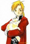 1boy alphonse_elric animal black_shirt blonde_hair carrying cat cat_day coat conqueror_of_shambala fullmetal_alchemist gloves long_hair looking_at_viewer male_focus petting ponytail red_coat shirt simple_background smile twitter_username urikurage white_background yellow_eyes