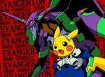blush_stickers bodysuit copyright_name cosplay cowboy_shot eva_01 gen_1_pokemon horn ikari_shinji ikari_shinji_(cosplay) mecha neon_genesis_evangelion no_humans open_mouth pikachu plugsuit pokachuu pokemon pokemon_(creature) red_background