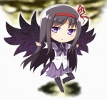 1girl :< akemi_homura binsen black_wings chibi mahou_shoujo_madoka_magica outstretched_arms pantyhose solo spread_arms wings
