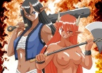 2girls axe black_hair blue_oni breasts club demon_girl horns medium_breasts multiple_girls oni pointy_ears red_oni weapon