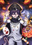 1boy bag bat black_hair candy cape castle checkered checkered_scarf commentary_request danganronpa eyebrows_visible_through_hair food hair_between_eyes halloween hat highres kyundoo looking_at_viewer male_focus mask mask_removed moon new_danganronpa_v3 night night_sky ouma_kokichi pants paw_pose peaked_cap pumpkin purple_eyes purple_hair scarf sky smile solo straitjacket upper_teeth white_legwear white_pants