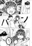 1boy 2girls absurdres admiral_(kantai_collection) bomber_grape comic crying crying_with_eyes_open detached_sleeves doujinshi hairband hat headgear hiei_(kantai_collection) highres kantai_collection kongou_(kantai_collection) military military_uniform monochrome multiple_girls naval_uniform nontraditional_miko open_mouth peaked_cap scan slapping sweat tears translated uniform