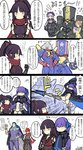 4girls 5boys alternate_costume animal_ears aqua_eyes bare_shoulders bikini_top black_armor black_hair blue_hair blush charles_babbage_(fate/grand_order) check_translation colored commentary_request cross doll_joints fate/grand_order fate_(series) frankenstein's_monster_(swimsuit_saber)_(fate) fuuma_kotarou_(fate/grand_order) heart highres katou_danzou_(fate/grand_order) kicking lavender_hair lion_ears meltlilith multiple_boys multiple_girls nikola_tesla_(fate/grand_order) noyamanohana nursery_rhyme_(fate/extra) orange_hair partially_translated petting ponytail purple_hair robot_joints sparkle thomas_edison_(fate/grand_order) translation_request very_long_sleeves yellow_eyes