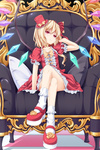 1girl bare_legs blonde_hair bobby_socks bow chair checkered checkered_floor choker colorized crossed_legs dinyc flandre_scarlet hair_bow hat long_hair looking_at_viewer mary_janes mini_hat mini_top_hat pillow platform_footwear red_eyes shoes side_ponytail sitting socks solo top_hat touhou wata_(akawata) white_legwear wings