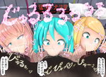 3girls :>= aqua_eyes aqua_hair blonde_hair cum cum_in_nose double_v fellatio hatsune_miku hetero highres kagamine_rin megurine_luka multiple_girls onomatopoeia oral penis pink_hair testicles translation_request twintails v vocaloid
