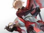 2boys artist_name black_gloves blonde_hair blood bloody_weapon blue_eyes cape commentary_request dylan_the_island_king ethan_the_exiled_hero facial_hair fighting_stance frown glint gloves grey_cape holding holding_sword holding_weapon long_sleeves male_focus multiple_boys pixiv_fantasia pixiv_fantasia_last_saga psyche_(arcadia) red_cape standing stubble surprised sword weapon